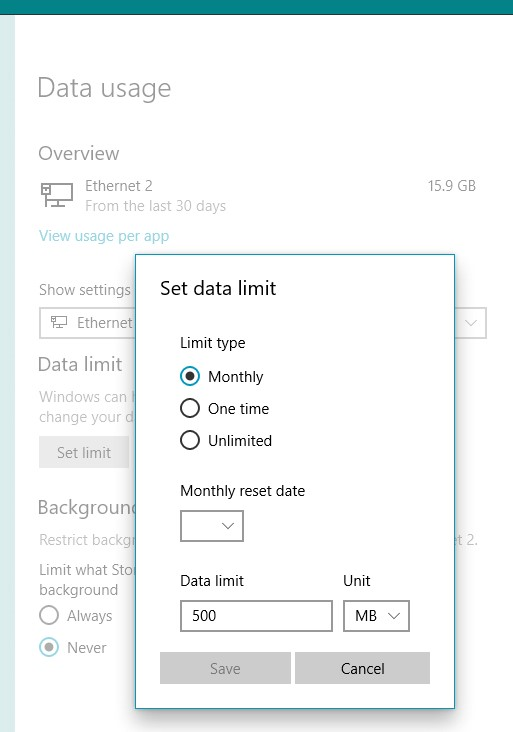 Set your exact data limit here