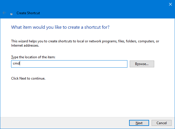 Create a shortcut for Command Prompt