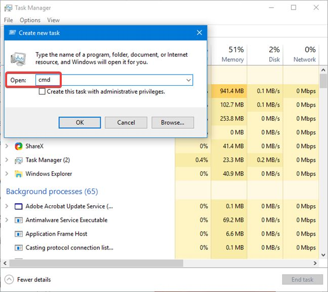 Start the Command Prompt using Task Manager