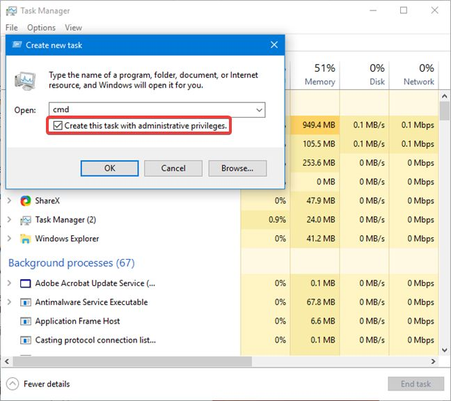 Start Command Prompt with administrator privileges from Task Manager