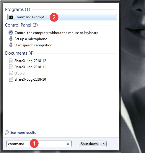 Search for command in Windows 7
