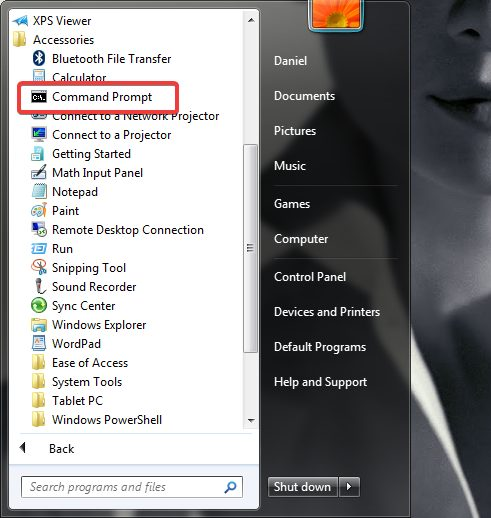 Command Prompt in the Start Menu from Windows 7