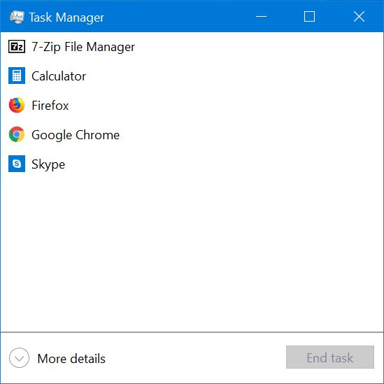 Task Manager compact view